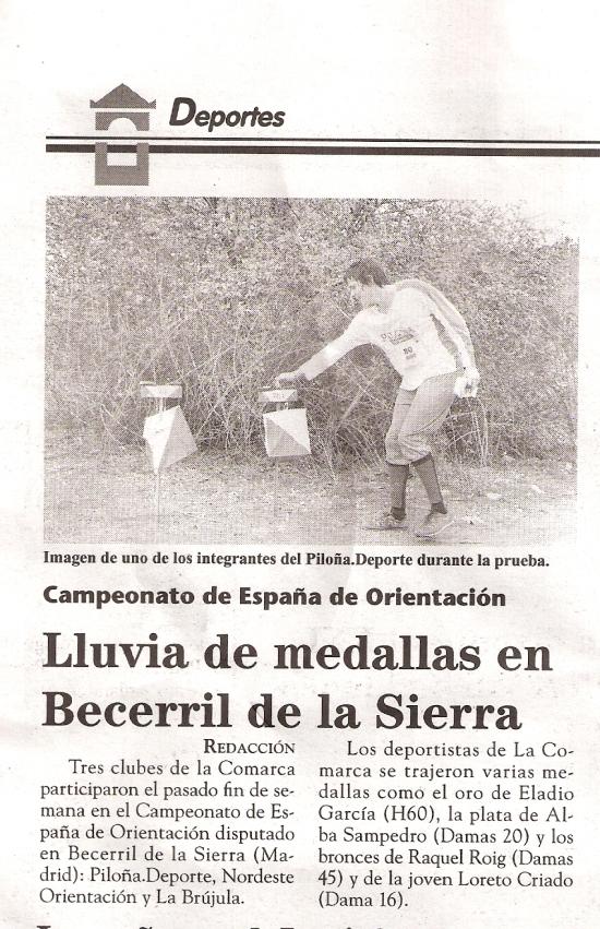 Lluvia de medallas Cto España Orientación 2010 (El Fielato)