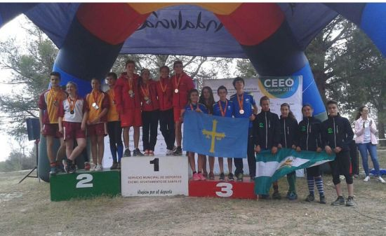 Carlota, Aitana, Rodrigo y Manuel en el podio.
